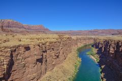 Colorado river in Arizona canyon stock images