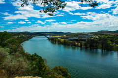 The Colorado River bend at 360 Bridge or Pennybacker Bridge. A side angle of the 360 bridge from a a distance away Stock Image