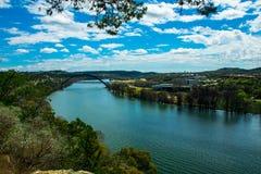 The Colorado River bend at 360 Bridge or Pennybacker Bridge Stock Image
