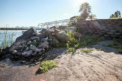 Colorado River Boat Ramp in the Sun Stock Photos