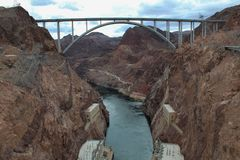 Colorado river bridge bypass view from the Hoover Dam stock photos