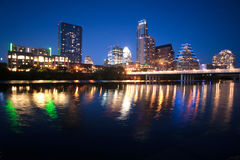 Colorado River Flows through Austin Texas City Center Downtown Royalty Free Stock Image