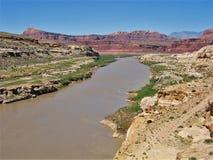 Colorado River. The Colorado River flows through red rock country near Hite Crossing Stock Photo
