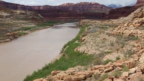 Colorado River. Glen Canyon Recreation Area in south Utah stock footage