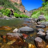 Colorado River in Glenwood Canyon. Colorado River flows through the White River National Forest in the western United States royalty free stock photography