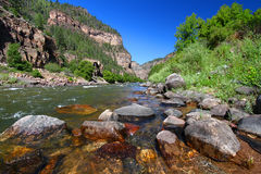 Colorado River in Glenwood Canyon. Colorado River flows through the White River National Forest in the western United States Royalty Free Stock Photo