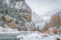Colorado River in Glenwood Canyon. Snow storm over Colorado River in Glenwood Canyon at Grizzly Creek Rest Area Royalty Free Stock Photography