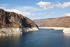 Colorado River at Hoover Dam. View from on top of the hoover dam of the Colorado river stock photos
