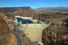 Colorado River and Hoover Dam, border of Arizona and Nevada, USA Stock Photos