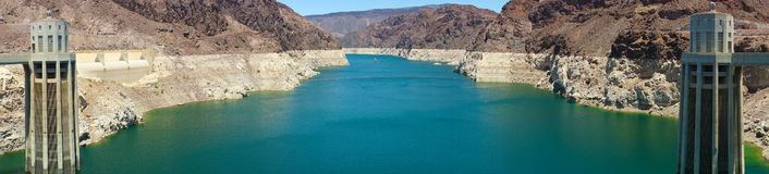 Colorado river and Hoover Dam intake Towers, Arizona and Nevada, Royalty Free Stock Photo