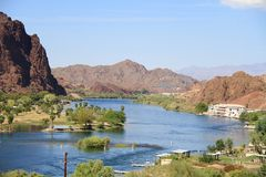 USA, Arizona: Colorado River - a Lifeline. This picture shows the importance of the Colorado River (California/Arizona/USA): It sustains life in this desert Royalty Free Stock Photo