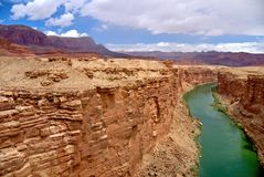 Colorado River from Navajo Bridge. This is a view of the Colorado River from the old Navajo Bridge at Marble Canyon in Arizona stock photos