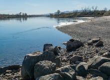 Colorado River near Needles, California. The Colorado River widens near Needles, California Stock Images