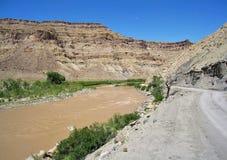 Colorado River. Potash Road along the Colorado River running through the canyon just south of Moab, Utah Stock Photos