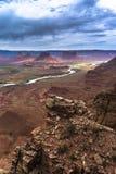 Colorado River professor valley overlook utah. View down the professor valley utah stock images