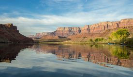 Colorado river rafters early morning near Lees Ferry, AZ. stock photography
