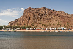 Colorado River Resort. This is a picture of a resort on the Colorado River, California side.  The Colorado River separates Arizona and Colorado Royalty Free Stock Photography