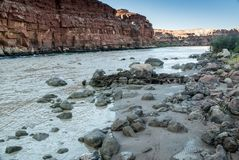 Colorado River Shoreline at Lee`s Ferry Stock Photography