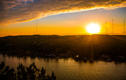 Colorado River Sunset golden burnt tranquil Boat ride on Town Lake Austin Royalty Free Stock Photography