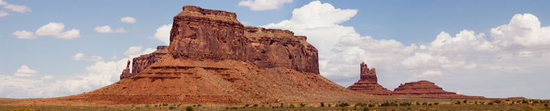 Colorado river valley panorama 1. True wide panorama of red sandstone formations like those in Monument Valley, thise in the Colorado River Valley near Moab Stock Image