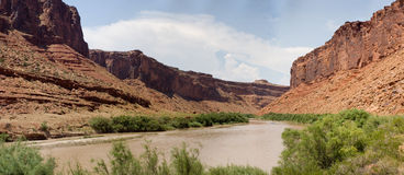 Colorado river valley panorama 2. True wide panorama of red sandstone formations like those in Monument Valley, thise in the Colorado River Valley near Moab Stock Images