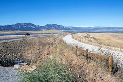 Colorado road to Boulder city. Road in Colorado on the way to Boulder city and view of the mountains Stock Photo