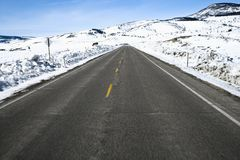 Colorado road in winter. royalty free stock photography