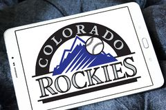 Colorado Rockies baseball team logo. Logo of Colorado Rockies baseball team on samsung tablet. The Colorado Rockies are an American professional baseball team stock photos