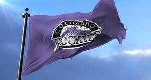 Colorado Rockies flag, american professional baseball team, waving - loop. Flag of the team of the Colorado Rockies, american professional baseball team, waving stock video footage