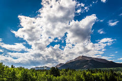 Colorado Rocky Mountain landscape. Forest and mountains under blue sky cloudscape taken in Colorado Rocky Mountians Estes Park Stock Photography
