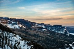 Colorado Rocky Mountain Sunrise Sunset. At Wolf Creek Pass near Pagosa Springs stock photo