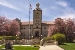 Colorado skola av miner Hall i vårblom Arkivbilder