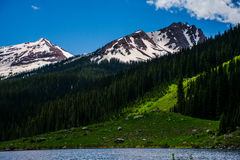 Colorado Spring Peaks Snow Tops Green Valley Pine Forest Stock Photo