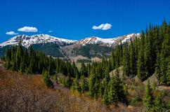 Colorado in Spring. Snow capped mountains and pristine day in Colorado royalty free stock photos