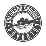 Colorado Springs Co los E.E.U.U. alrededor del turismo del viaje del vector del sello del diseño del horizonte de la ciudad del b ilustración del vector