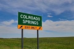 US Highway Exit Sign for Colorado Springs. Colorado Springs `EXIT ONLY` US Highway / Interstate / Motorway Sign Royalty Free Stock Photos