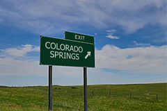 Colorado Springs. US Highway Exit Sign for Colorado Springs Royalty Free Stock Photo