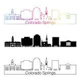 Colorado Springs V2 skyline linear style with rainbow Stock Image