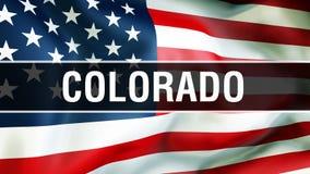 Colorado-Staat auf einem USA-Flaggenhintergrund, Wiedergabe 3D Staaten von Amerika fahnenschwenkend im Wind Stolze amerikanische  stock abbildung