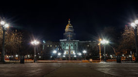 Colorado State Capital at Night. In Winter Royalty Free Stock Photo