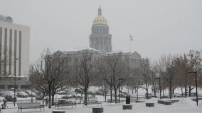 Colorado State Capitol building during a blizzard stock footage
