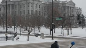 Colorado State Capitol building during a blizzard stock video