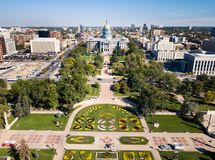 Colorado State Capitol building in Denver aerial stock photos