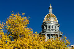 Colorado State Capitol Building in Denver. Close up of Colorado USA State Capitol Building dome in Denver, CO on sunny autumn morning with changing tree around stock image