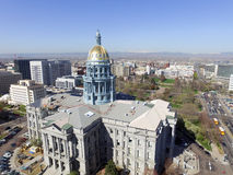 Colorado State Capitol. Colorado State and Denver city capitol building seen from the air Stock Photography