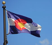 Colorado State Flag. Against a blue sky stock photo
