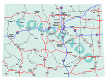 Colorado State Interstate Map royalty free illustration