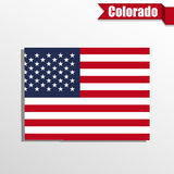 Colorado State map with US flag inside and ribbon Royalty Free Stock Photo