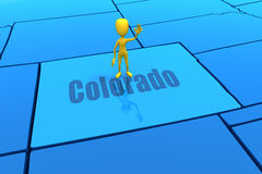 Colorado state outline with yellow stick figure Royalty Free Stock Image