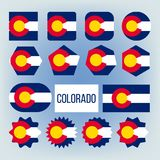 Colorado State Various Shapes Vector Flags Set vector illustration